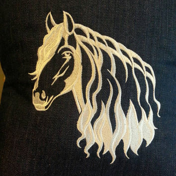 handmade throw pillow cover white horse on denim and blue wagon wheel cotton back