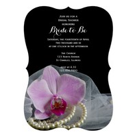 Pink Orchid and Pearls Bridal Shower Invitation
