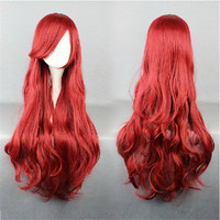 OHCOS Wave Synthetic Hair Long Brown Red Little Mermaid Ariel Cosplay Wig Peruca Instock