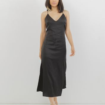 PALOMA SATIN SLIP DRESS - BLACK