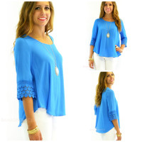Marbella Valley Blue Textured Swing Top