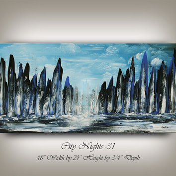 CITYSCAPE PAINTING Large Original Art Abstract Modern Paintings Contemporary Art city scape Birthday Gift Decor by Artist Nandita Albright