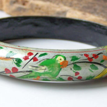 Etsy, Etsy Jewelry, Vintage Wooden Bangle, Vintage Painted Bangle, Bird Bangle, Vintage Bangle, Blue Bird, Yellow Bird, Green Bird