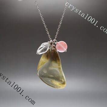 Natural 102 ct citrine necklace amethyst clear quartz charms chakra stone necklace rough citrine large nugget necklace