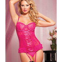Paisley Lace Bustier W-removable Garters & Thong Pink Md