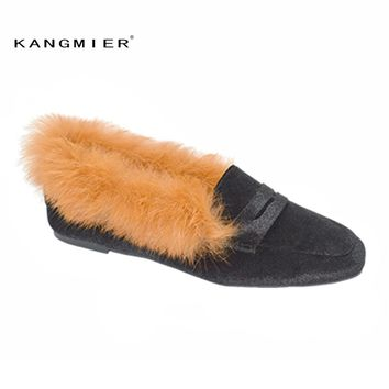 KANGMIER Mules Winter Shoes Slip On Loafers Home Slippers Slides Women Shoes Woman Outdoor Slippers fur mules velvet mules brand