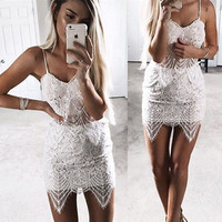Sexy Lace Strap Vest Tank Top Camisole Skirt Set Two-Piece