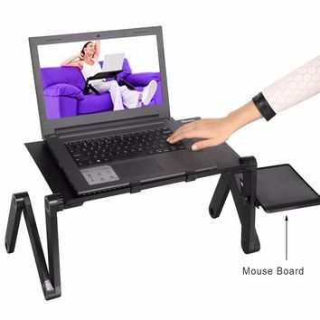 Computer Desk Portable Adjustable Foldable Laptop Notebook PC Table Folding Vented Stand Bed Tray