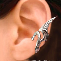 925 Sea Serpent - solid Sterling Silver ear cuff earring jewelry, wing snake dragon, Left earcuff for men and women  091612