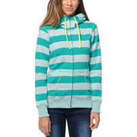 Billabong Girls Crossing Paths Turquoise Tech Fleece Jacket at Zumiez : PDP