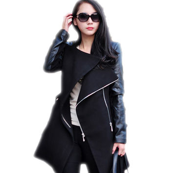 Autumn Winter Spliced Pu Leather Sleeves Long Coat Female Slim Patchwork Trench Women Manteau Femme Casacos AWC0006