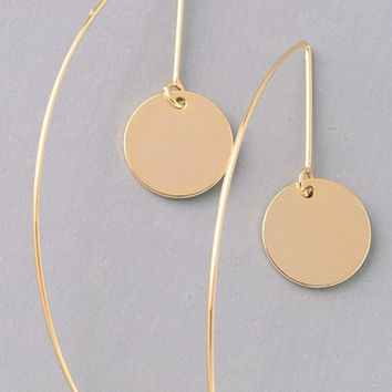 Gold Disc Dangle Earring