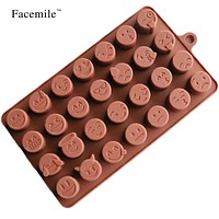 3D Emoji Textured Silicone Mold DIY Chocolate Pudding Jelly Soap Mold Fondant Biscuit Pastry Cake Cookie Decoration 52086