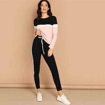 Athleisure Color-Block Top and Drawstring Waist Side Panel Pants Women Two Piece Set Sporting Casual Two Piece Sets