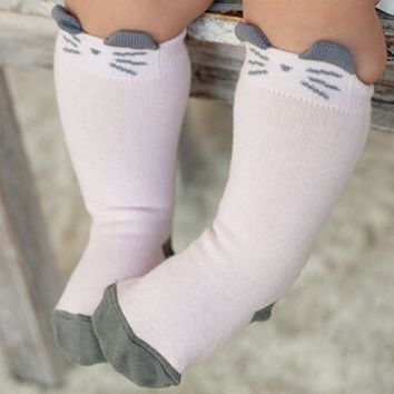 Lovely Cartoon Cat Printing Skid Resistance Leg Warm Socks For Infant Newborn Toddler Knee High Sock Baby Boy Girl Socks 14-201