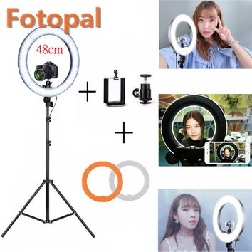 Fotopal Dimmable 48cm 240 LED Video Photo Phone Studio Fill Ring Daylight 2 Filter With Camera Self Light Lamp Makeup Tripod