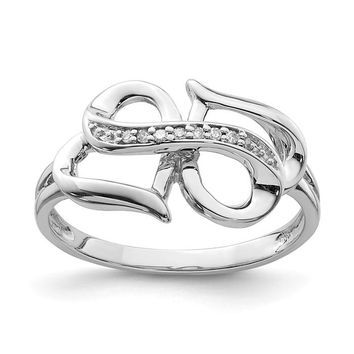 Sterling Silver Genuine Diamond Infinity Symbol Heart Ring