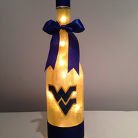 West Virginia University wine bottle lamp, Morgantown West Virginia Mountaineers gift idea, nightlight, accent lamp, sports decor