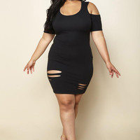 Black Plus Size Mini Party Dress