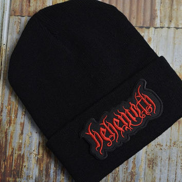 Heavy Music Thrash Metal Grunge Rock Black Knit Ski Unisex Beanie Hat Embroidered Patch Patches