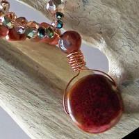 SALE  Crystal stone wire wrapped necklace pendant in brown, blue and red tones copper