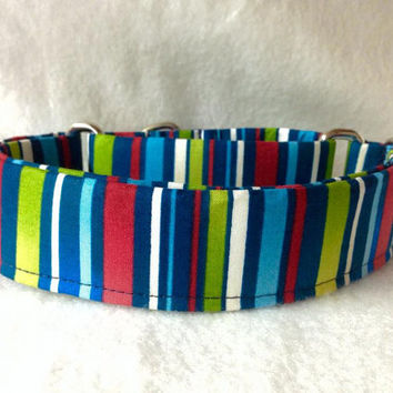 "Candy Cane Stripe Royal Martingale or Quick Release Collar 5/8"" Quick Release 3/4"" 1"" Martingale 1.5"" Martingale 2"""