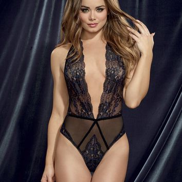 Velvet Trimmed Lace Teddy