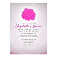 Trendy Floral Hot Pink Wedding Invitations