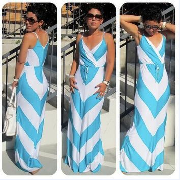 Blue Chevron Wrap Front Drawstring Waist Maxi Dress