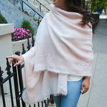 Monogrammed Blanket Scarf - Baby Pink & White