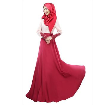 Vintage Kaftan Abaya Jilbab Islamic Muslim Women Long Sleeve Maxi Dress M L Hot Sale
