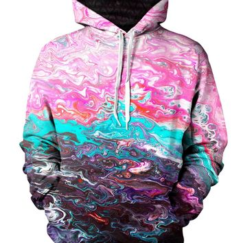 Bubblegum Haze Psychedelic Marbled Paint Pullover Hoodie