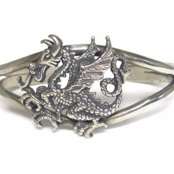 Vintage Sterling Dragon Cuff Bracelet 6 Inches