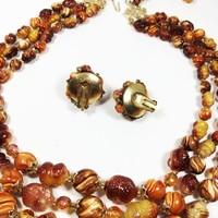 Brown Orange Jewelry Set 3 Strand Vintage 1980s 1990s Beaded Necklace Gold Tone Cluster Earrings Clip On Earrings