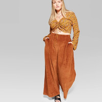 Women's Plus Size High-Rise Wide Leg Corduroy Pants - Wild Fable™ Rust