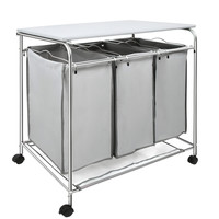 3 Compartment Laundry Cart Basket Trolley with Iron Board