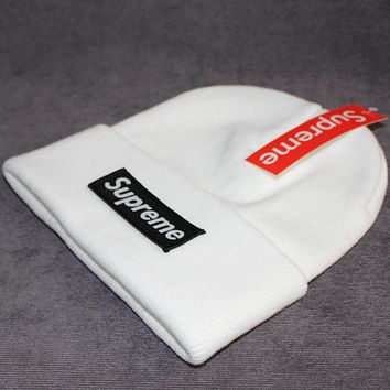 Supreme warm winter hat patch letters wool cap White