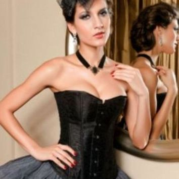 Plus Size Black Floral Brocade Burlesque Corset