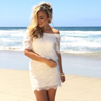 Kailani Lace Off Shoulder Dress In Ivory