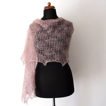 knit lace stole, antique rose wrap, bridal shawl
