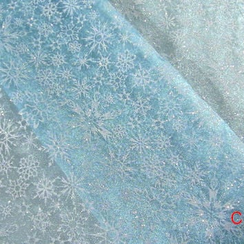 Frozen Queen Elsa Cape Fabric Snowflake Borealis Blue Organza Inspired By Disney - Sold By Half Yard Halloween Christmas Girl Costume Fabric