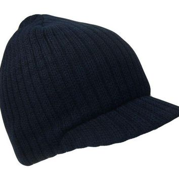 DCCK2JE Navy Blue College Style Campus Jeep Visor Beanie Winter Knit Ski Cap Caps Hat