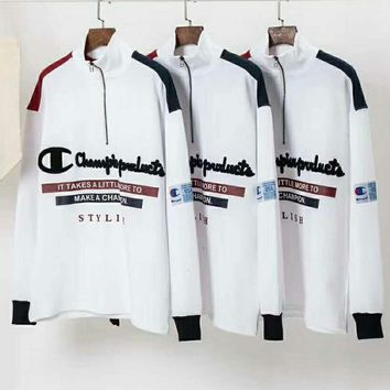 Champion Embroidery White Medium Long Paragraph Thick Half-Zipper Sweater Pullover Top I-XS-FSYWZY