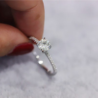 14K White Gold 5mm Round Moissanite Ring Diamonds Wedding Ring Moissanite Engagement Ring Promise Ring