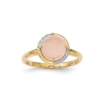14k Yellow Gold Pink Chalcedony And Diamond Ring