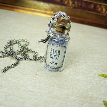 Stardust 2ml Glass Vial Necklace - Glass Bottle Pendant - Star Dust - Shooting Star Dust Glitter Bottle
