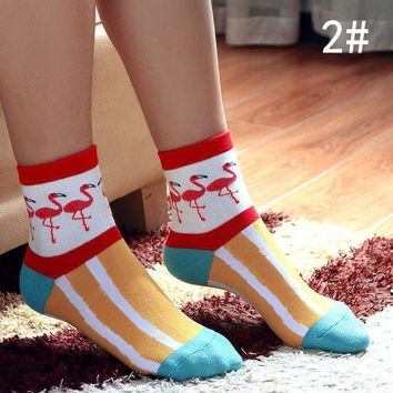 Women's Fashion 3D Printed Cute Flamingo Casual Cotton Low Cut Ankle Socks 2#