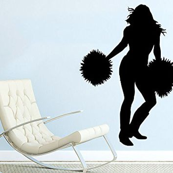 I Cheer Wall Decal Sports Girl Cheerleader Sport Wall Decals Vinyl Stickers Teens Nursery Baby Room Home Decor Art Bedroom Design Interior C444