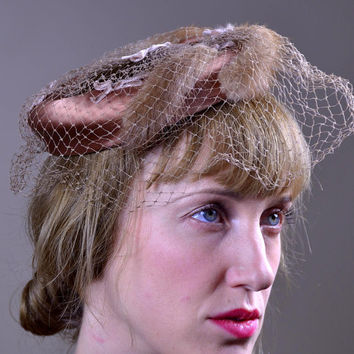 1950s Mink Tail on Silk Birdcage Hat