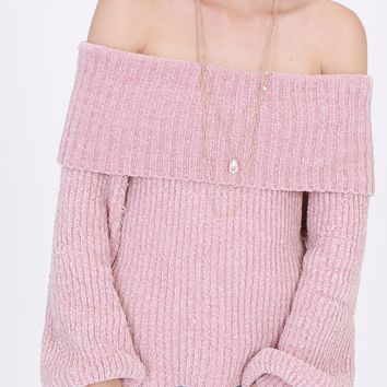 fold over off the shoulder chenille sweater (more colors)